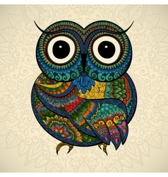 Ornamental owl bird vector