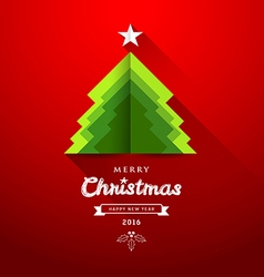 Merry christmas origami paper green tree overlap vector