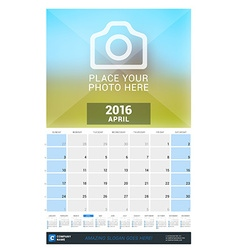 April 2016 wall monthly calendar for 2016 year vector
