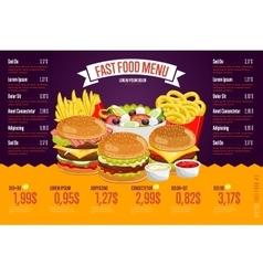 Fast food menu template vector image