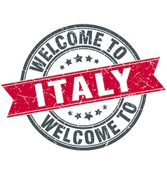 Welcome to italy red round vintage stamp vector