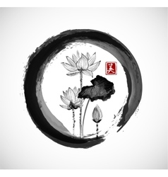 Lotus flowers in black enso zen circle vector