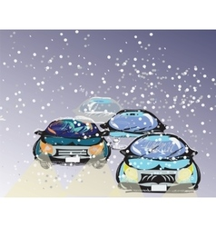 Driving through a snowstorm vector