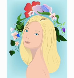 blonde with flowers on blue vector image