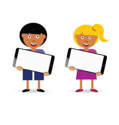 Children holding mobile phone vector