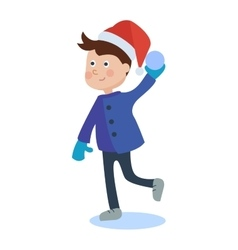 Christmas kid playing winter vector image vector image