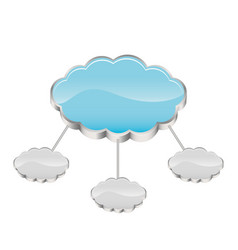 Cloud storage connected with several server vector