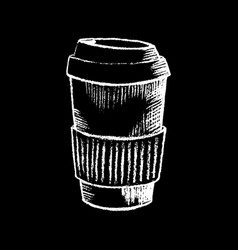 coffee paper cup white chalk on black chalkboard vector image