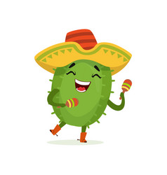 cute mexican cactus funny plant character in vector image