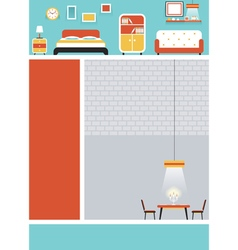 Furniture flat design for webpage poster vector