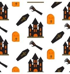 Halloween castle seamless pattern vector