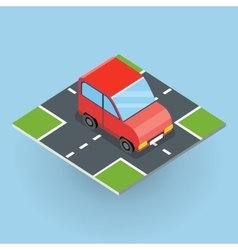 Isometric red car vector