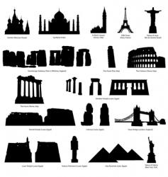landmarks silhouette set vector image vector image
