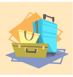 Luggage icon summer sea vacation concept vector