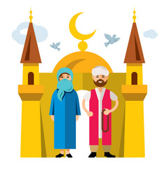 Muslim family and islam flat style vector
