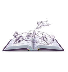 open book fable of swan pike and crawfish vector image vector image