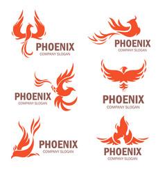 phoenix company slogan flat set vector image vector image