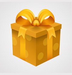 present yellow box with golden ribbon vector image