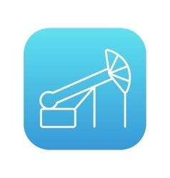 Pump jack oil crane line icon vector