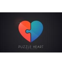Puzzle heart love logo design heart logo design vector