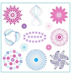 Set multi colored ornaments circle oval flower vector image vector image