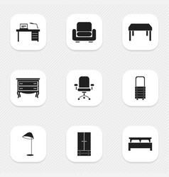 set of 9 editable furniture icons includes vector image vector image