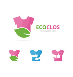 set of cloth logo combination shirt and eco vector image