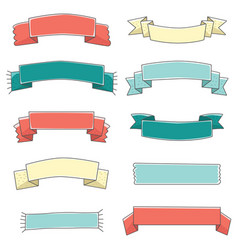 Small ribbon banner cute set hand drawn vector