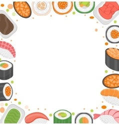 Sushi frame template with space for text japanese vector