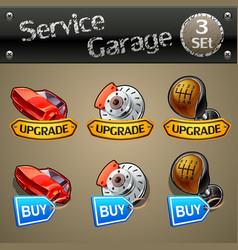 Upgrade and buy parts icons for race game-set 3 vector