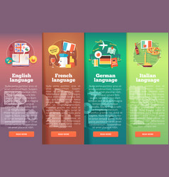 Vertical banners set of foreign language schools vector