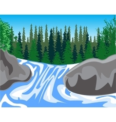 Waterfall on timber stream vector
