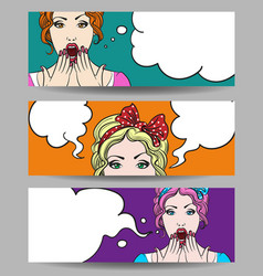 Woman with speech bubble banner set vector