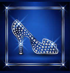 Women shoe decorated with jewels vector