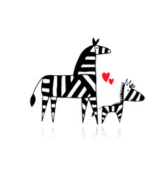 Zebra family mother and child sketch for your vector