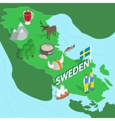 Sweden map isometric 3d style vector