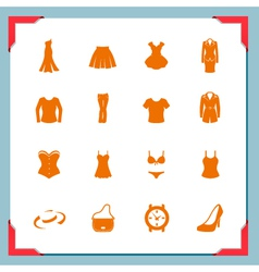 Clothing icons women in a frame series vector