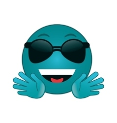 Sunglasses cool emoticon icon vector