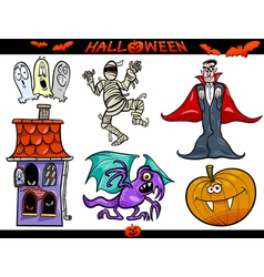 Halloween cartoon themes set vector