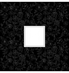 black background with decorative flowers vector image