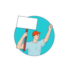 Union worker activist placard protesting fist up vector