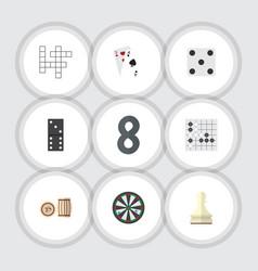 Flat icon play set of lottery arrow bones game vector