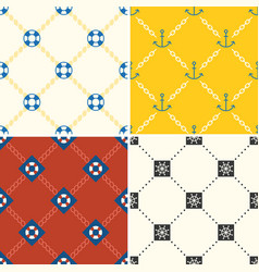 Navy and nautical seamless pattern theme set 4 vector