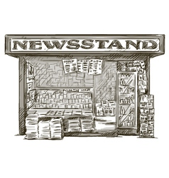 Newsstand hand drawn press kiosk vector