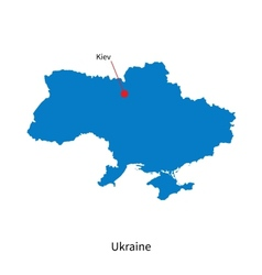 Detailed map of ukraine and capital city kiev vector