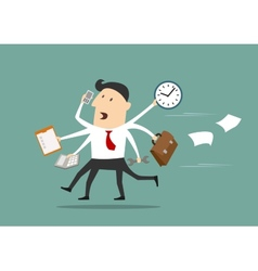 Multitasking businessman running flat concept vector