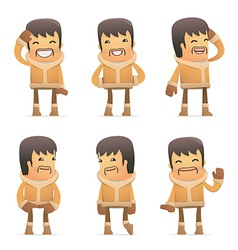 set of eskimo character in different poses vector image