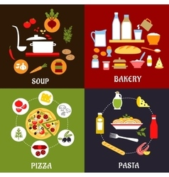 Cooking processes of vegetarian and fast food vector