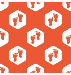 Orange hexagon footprint pattern vector