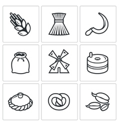 Mill and bread icon set vector
